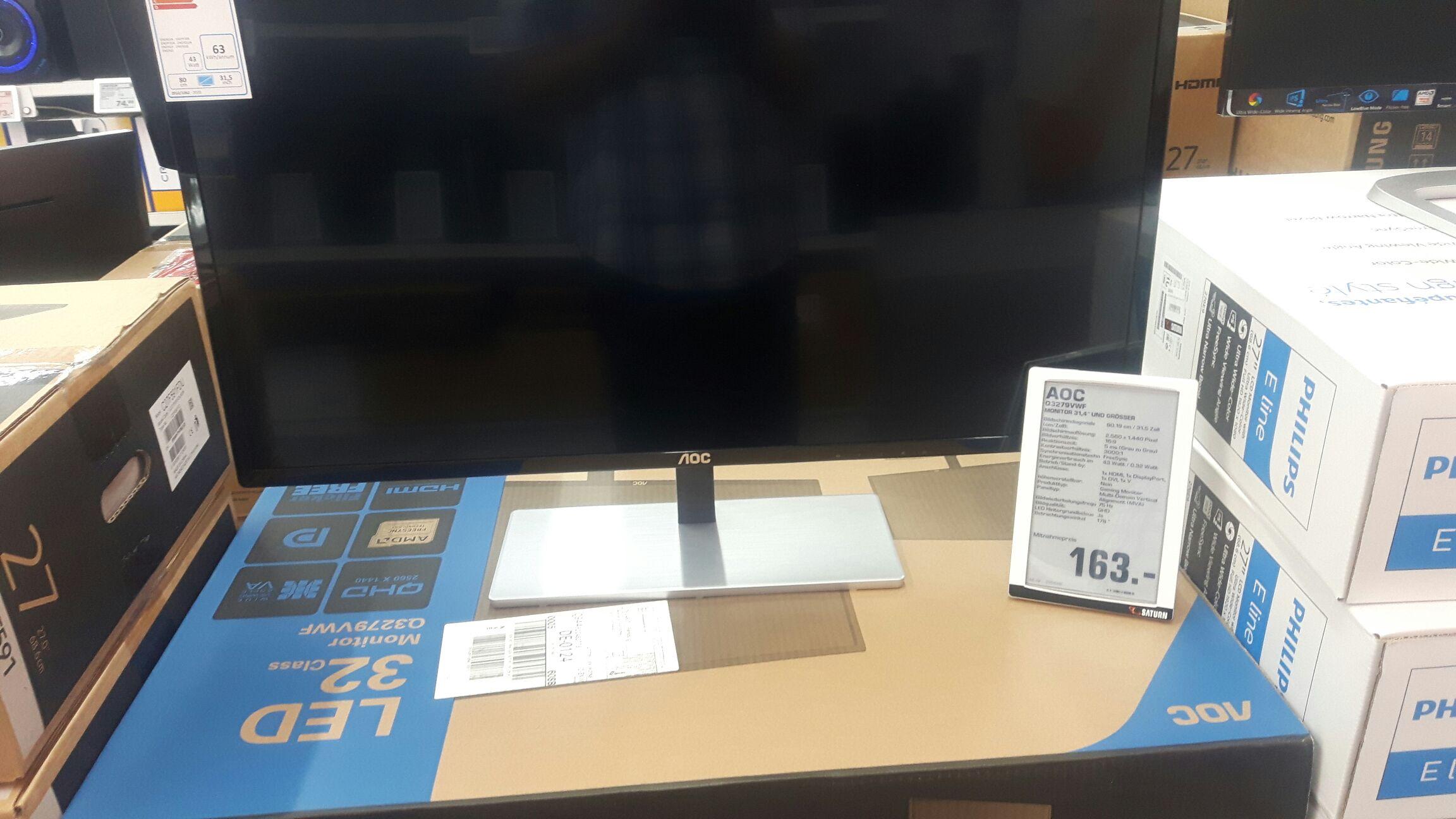 Lokal Saturn Flensburg: AOC Q3279VWF 80,01cm (31,5 Zoll) QHD Gaming-Monitor AMD FreeSync EEK:B