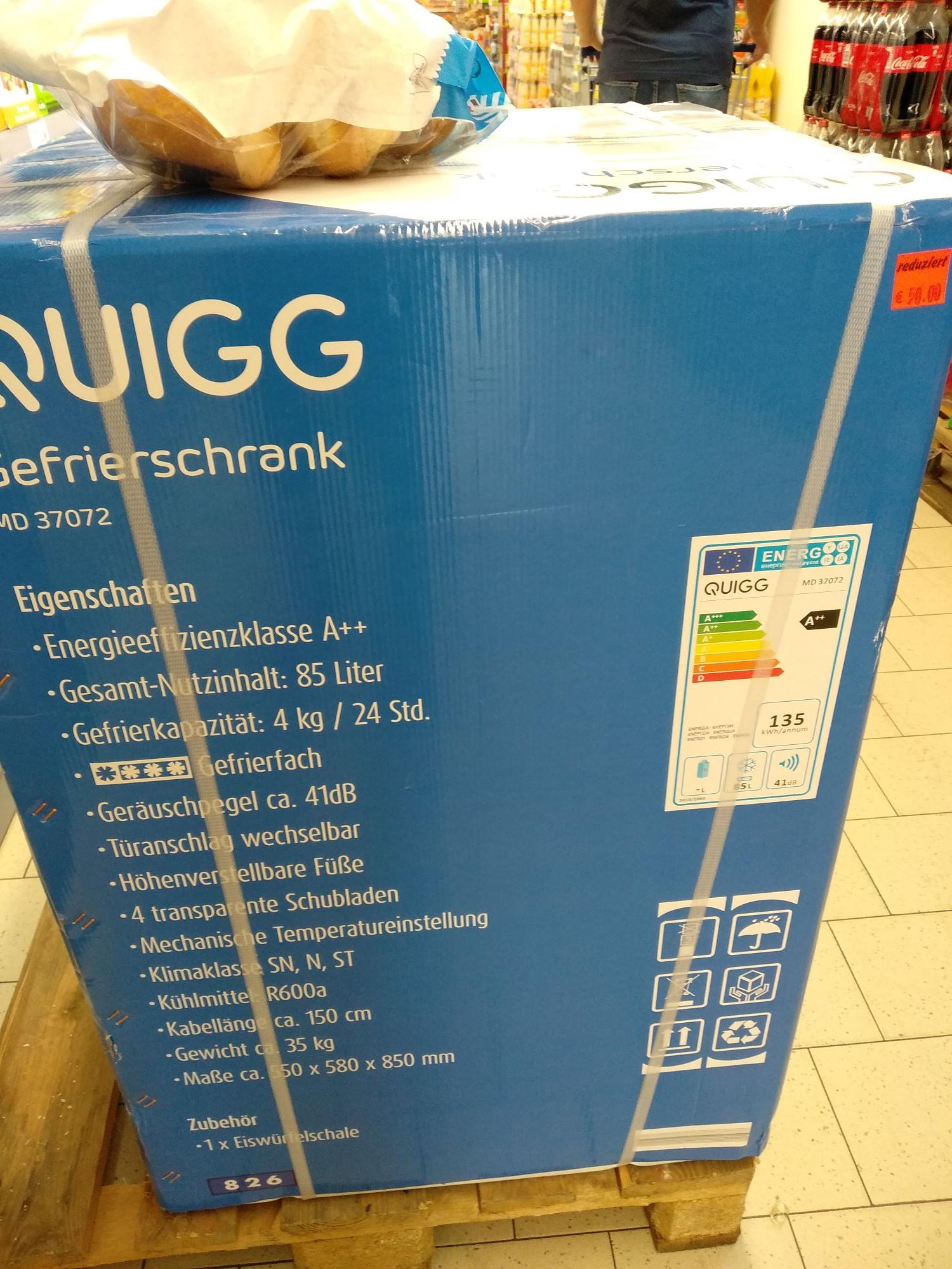 (Lokal Aldi Hannover) Gefrierschrank Quigg MD37072