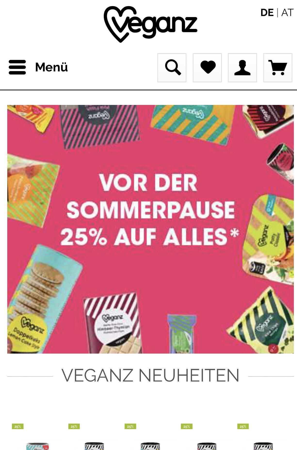 25% Rabatt auf ALLES (außer bereits rabattierte Ware) im Veganz Shop