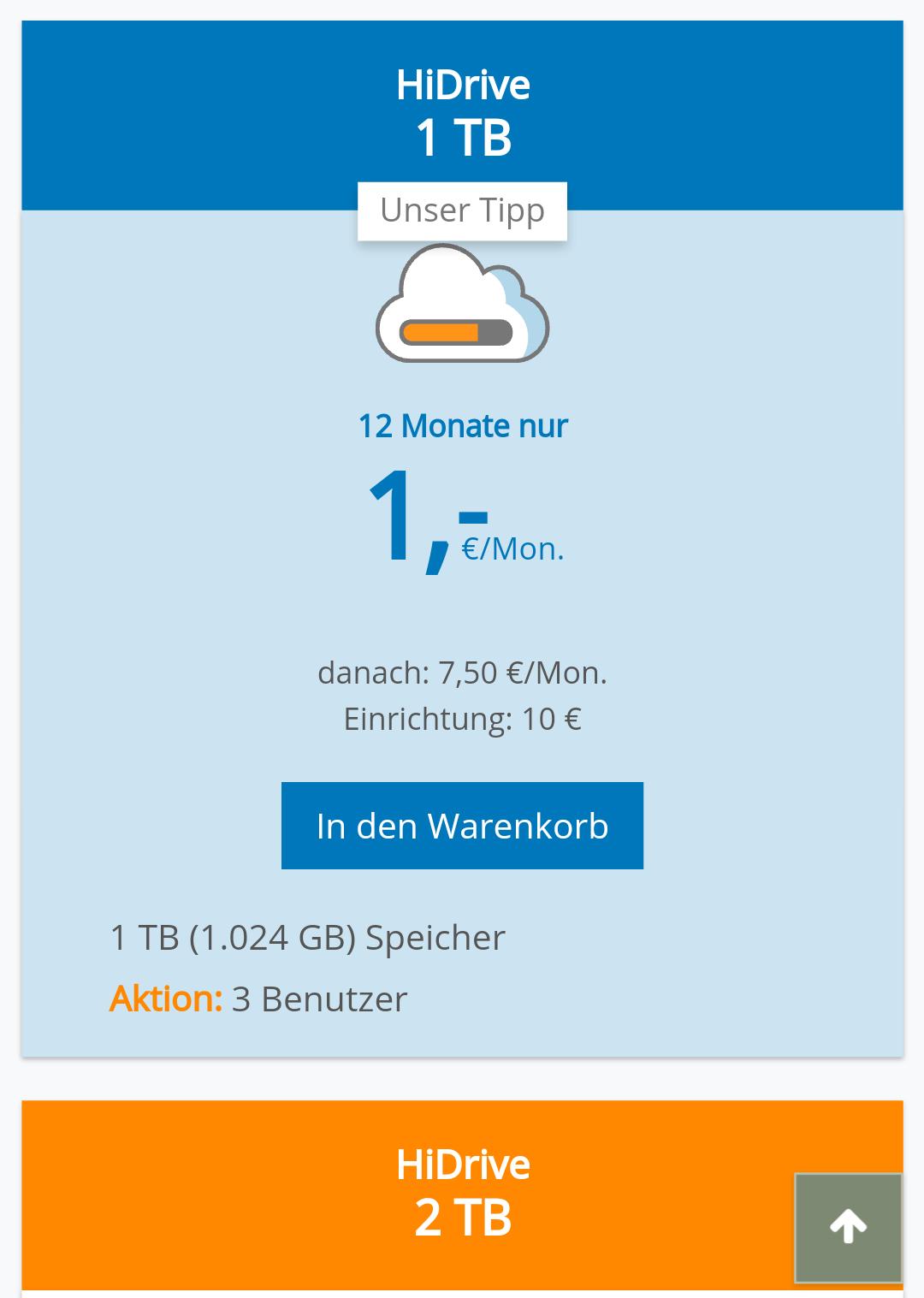 1TB Cloudspeicher bei Strato HiDrive (12 Monate-Vertrag)