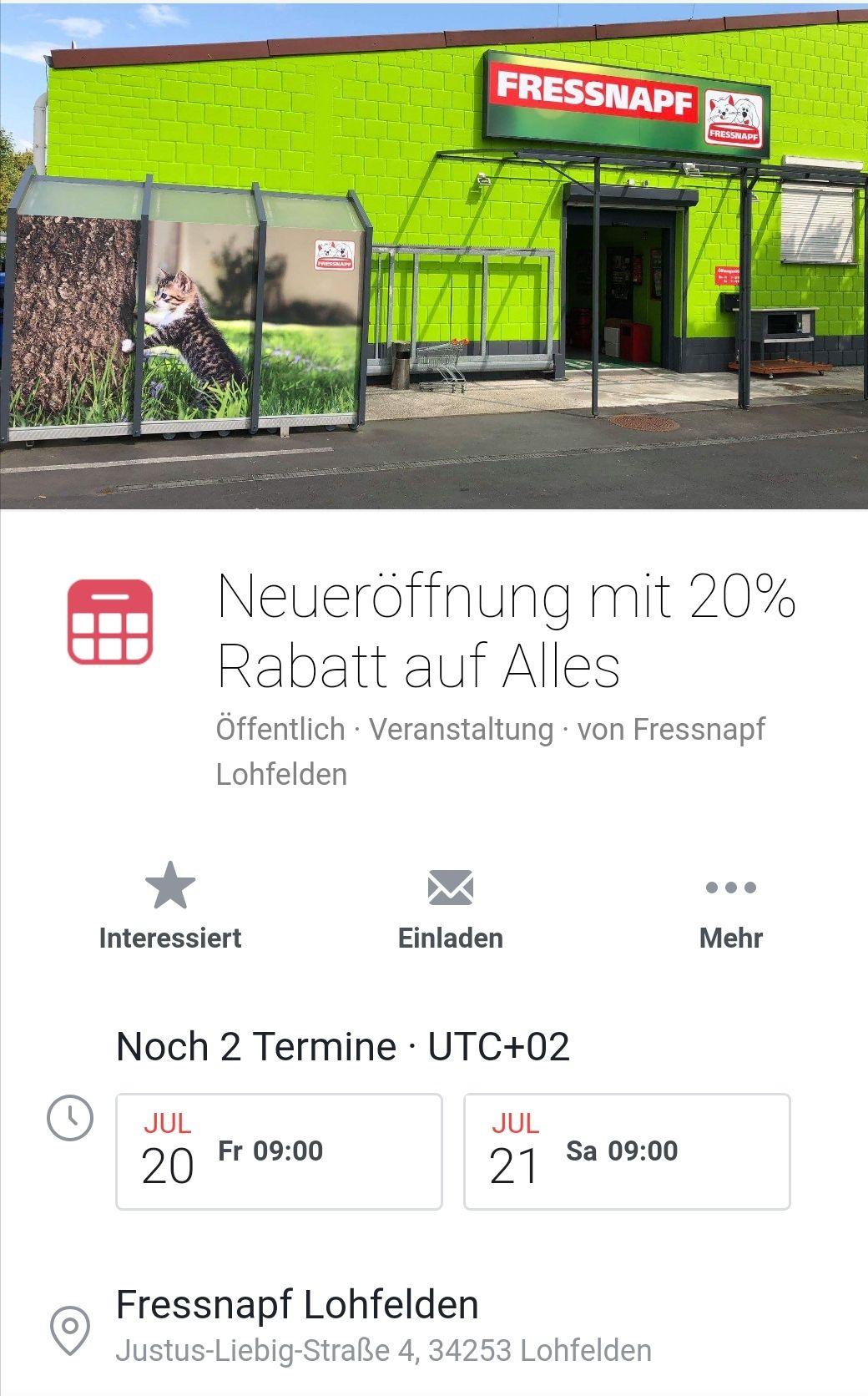 [Lokal Kassel] Fressnapf Wiedereröffnung Lohfelden 20% Rabatt auf alles