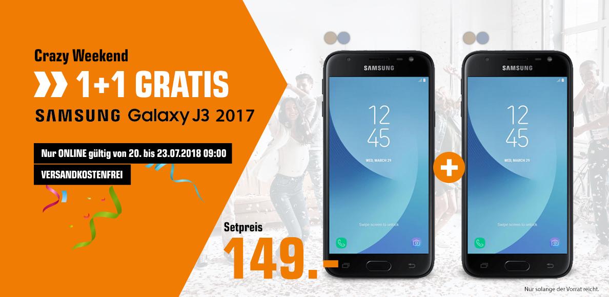 2 x SAMSUNG Galaxy J3 (2017) 16 GB, Duos, Smartphone, 5 Zoll, Dual SIM ab 154,-€  oder 2 x Samsung Galaxy J5 (2017) Duos für 178,99€ [Saturn/Mediamarkt Österreich]