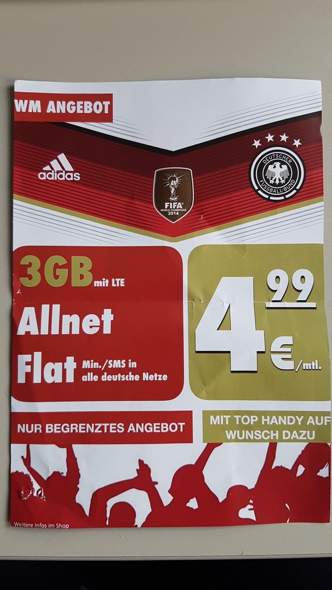 [Lokal Hamburg Steilshoop] Allnet-Flat Telefon + SMS und 3GB LTE im O2 Netz für 4,99€ monatlich auf der Rechnung.