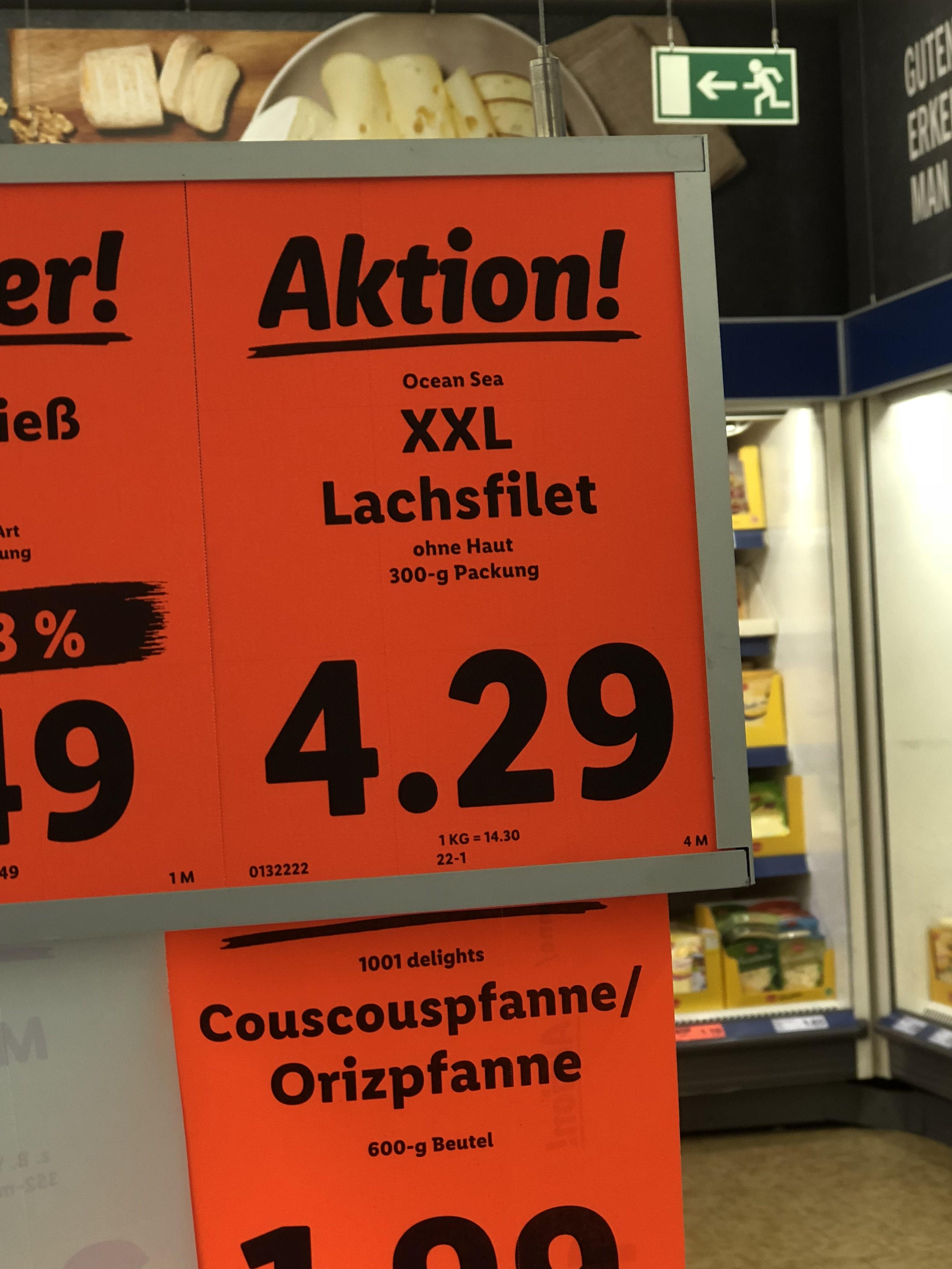 Lachs Lidl 300g statt 250g 4,29€
