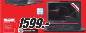 [Regional Mediamarkt Haidhausen] Acer Predator 15 39,62 cm (15,6 Zoll Full-HD IPS matt) Gaming Laptop (Intel Core i7-7700HQ, 16GB RAM, 512GB SSD + 1.000GB HDD, GeForce GTX 1070 8GB GDDR5 VRAM, Win 10 Home) schwarz für 1599,-€