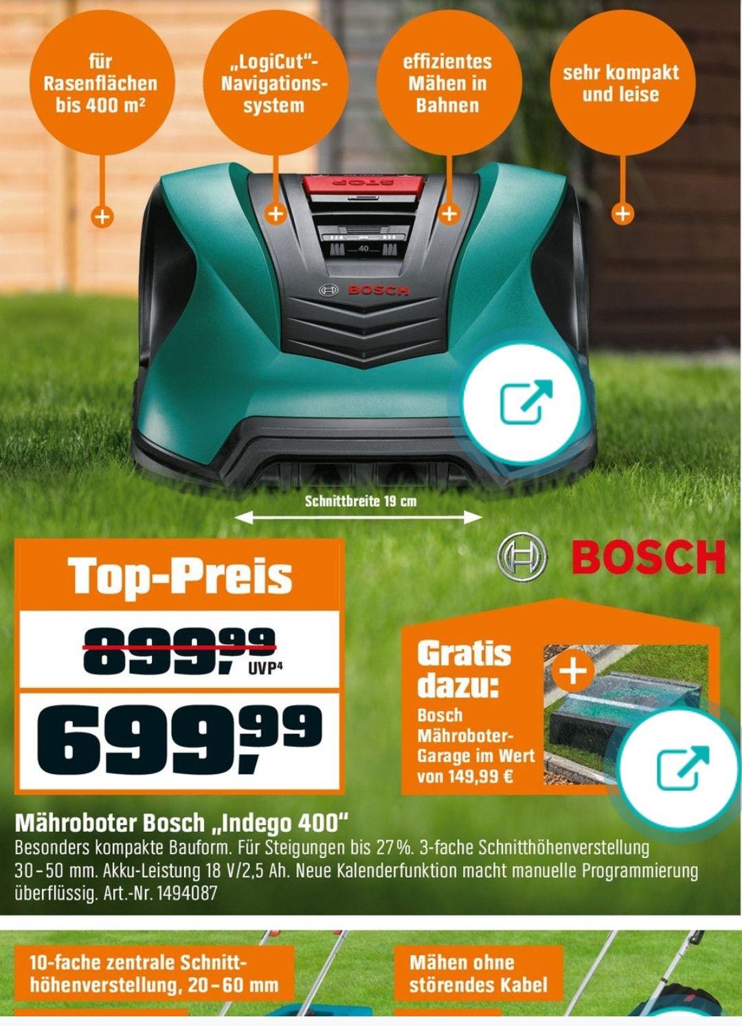 Bosch Mähroboter Indego 400 inkl. Mähroboter-Garage
