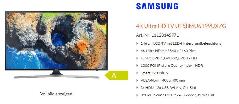 """[Lokal Expert Klein] TV Samsung MU6199 UE58MU6199 58"""""""