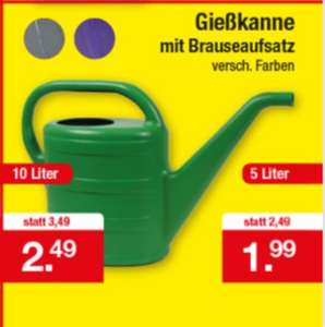 Gießkanne, verschiedene Farben, 10 Liter für 2,49 Euro und 5 Liter für 1,99 Euro  [Zimmermann]