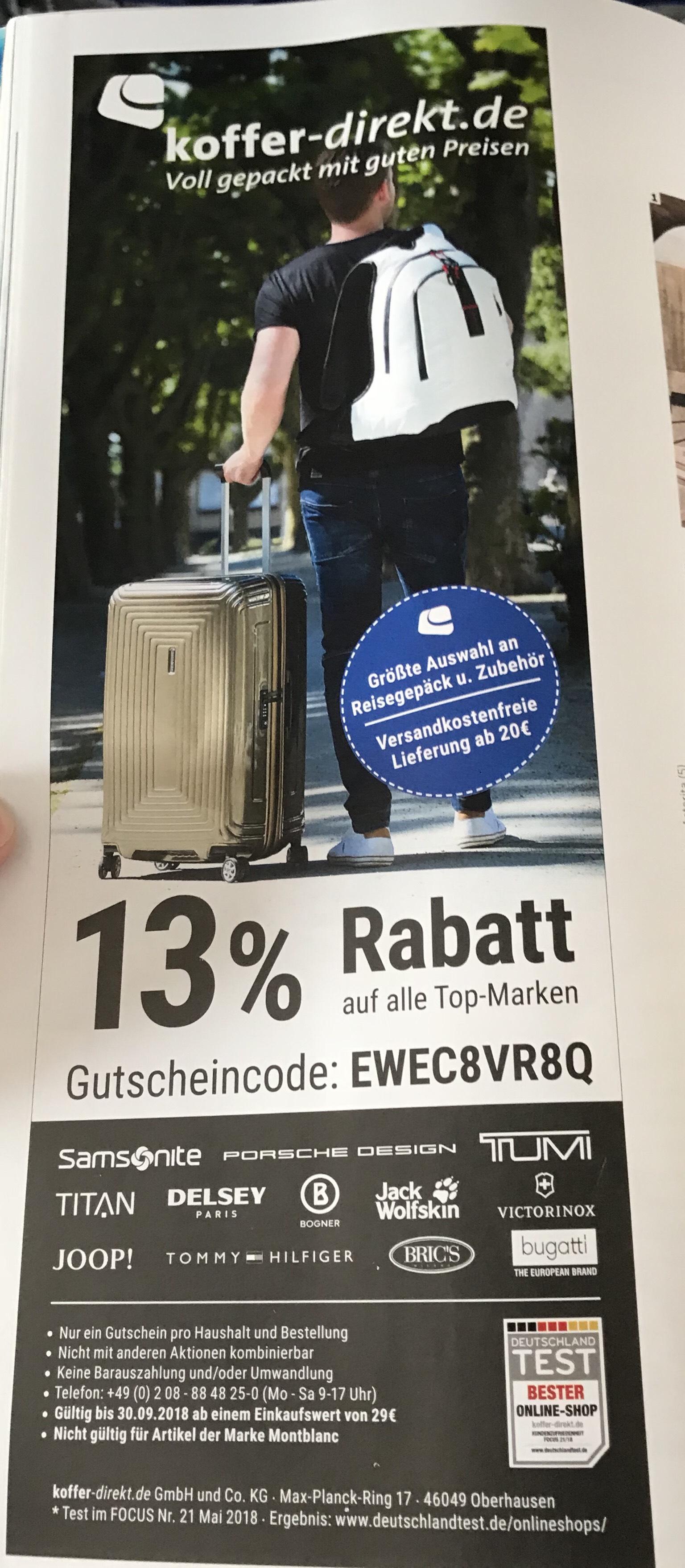 13% Rabatt bei koffer-direkt.de bis 30.09.18. MBW 29€