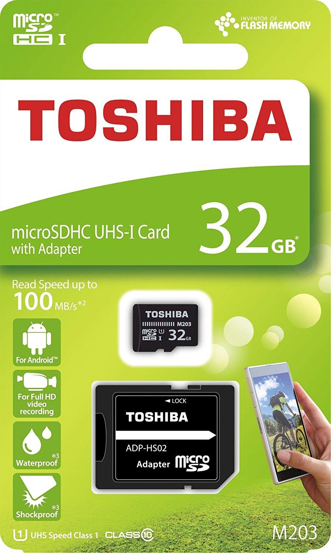 Toshiba M203 microSDHC-Karte 32GB Class 10, UHS-I inkl. SD-Adapter für 8€ versandkostenfrei (Media Markt)