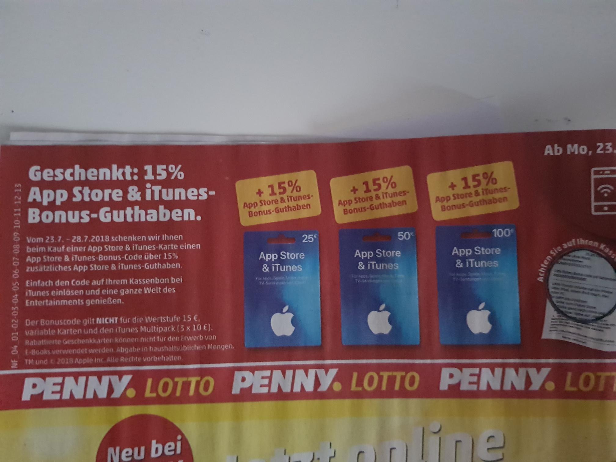[Penny] App Store und iTunes Guthaben 15% geschenkt [bundesweit]