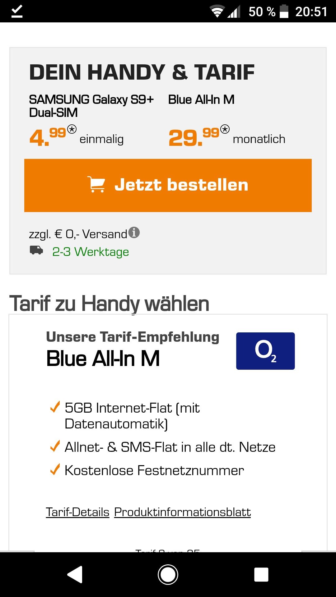 Samsung Galaxy S9+ Duos + 64 GB Micro-SD O2 Netz