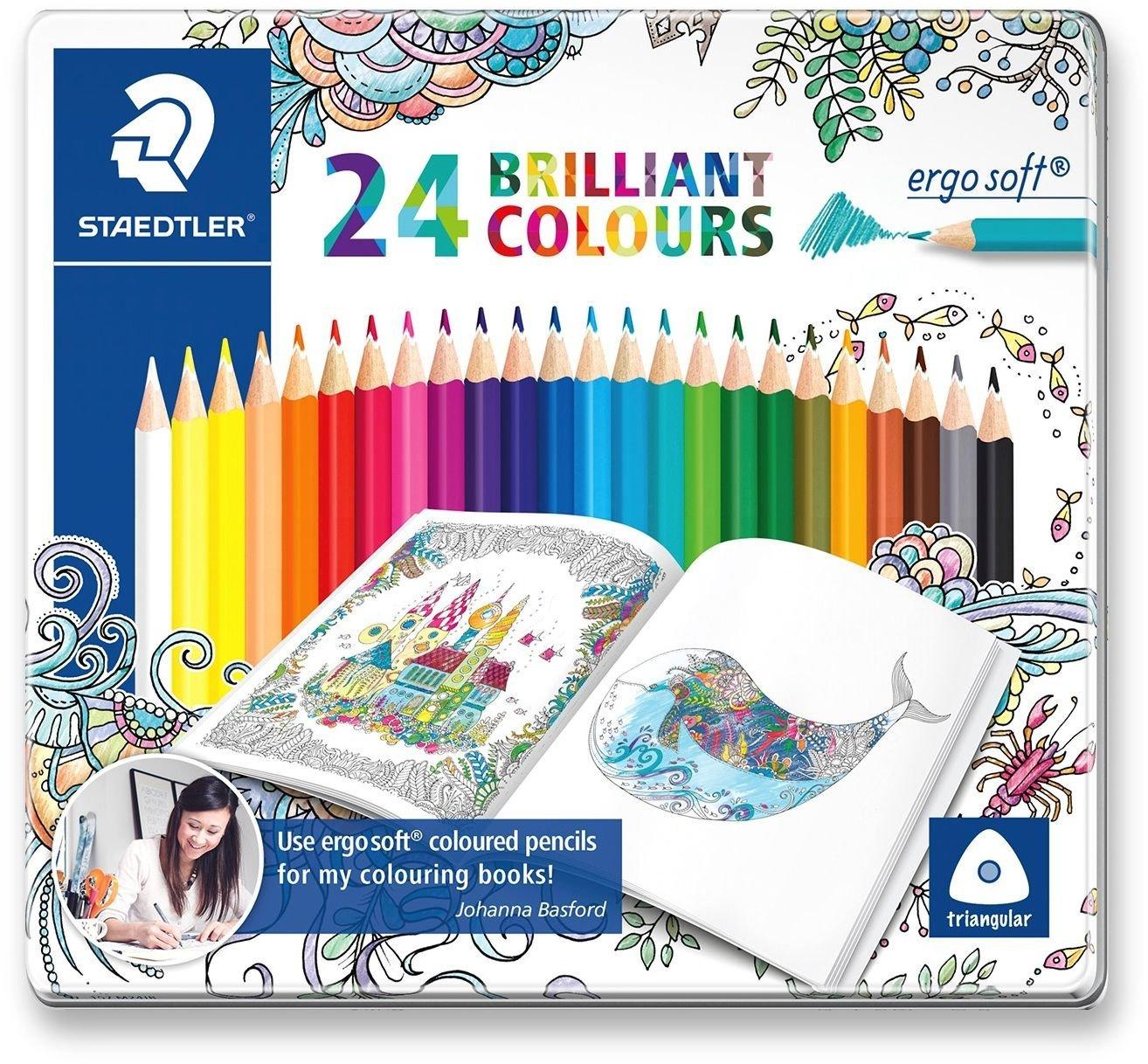 Staedtler ergo soft Buntstifte, Dreikantform, rutschfeste Soft-Oberfläche 24er-Metalletui für 6,49€ & Pilot Faserschreiber FriXion Colors 6er-Set für 4,49€ (Müller)