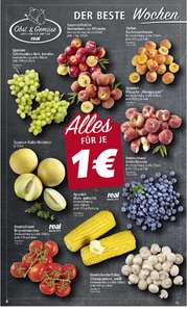 [Real] Verschiedene Früchte und Gemüse für 1€