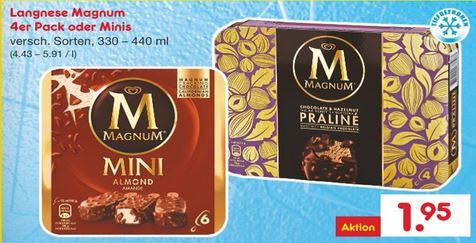 [Netto Marken-Discount / ohne Hund] Langnese Magnum 4er Pack oder Minis, versch. Sorten, auch PRALINÉ