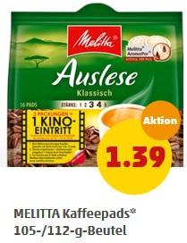 15 Packungen MELITTA Kaffeepads ( u.A für Senseo ) + 5 Moviechoice Kino Gutscheine für 20,85€ [PENNY bundesweit]