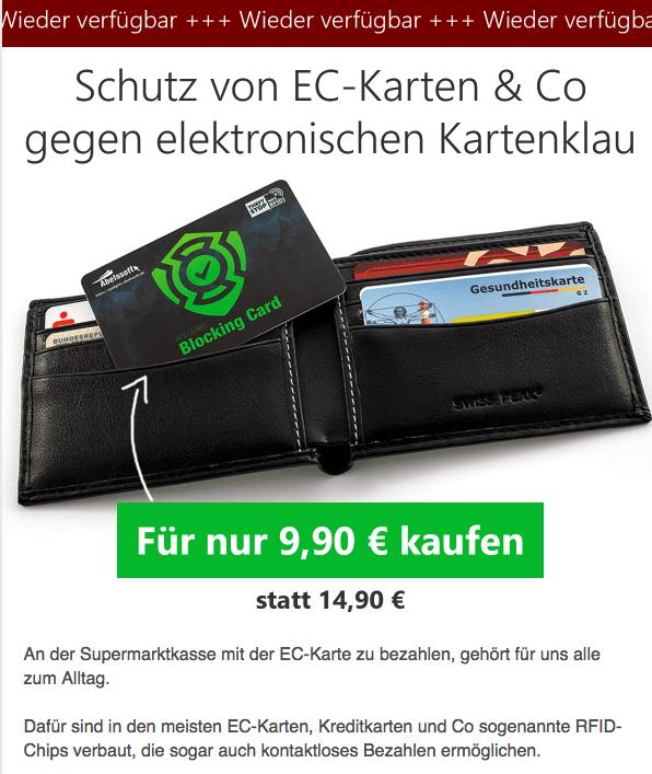 Schutz vor EC-Karten Datenklau mit 47% Rabatt (dank Fehler im Bestellformular)