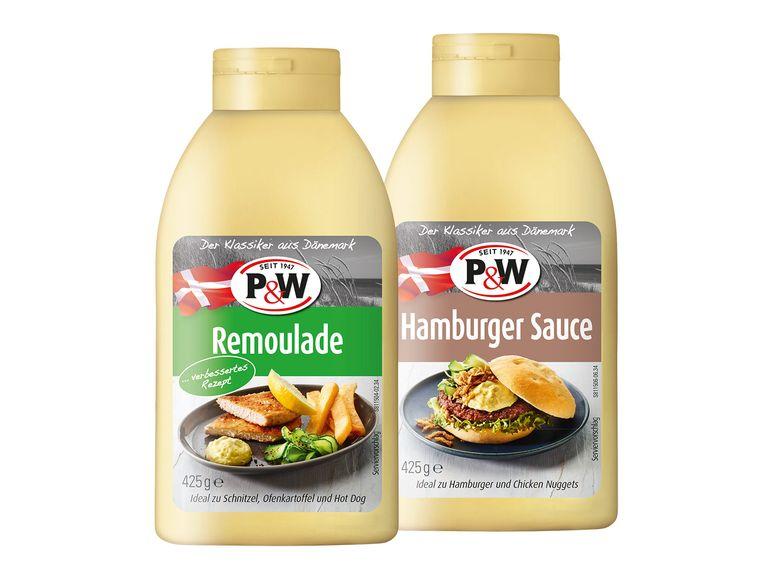 Leckere dänische P&W Saucen, z.B. Remoulade, Hamburger Sauce je 425 ml bei Lidl