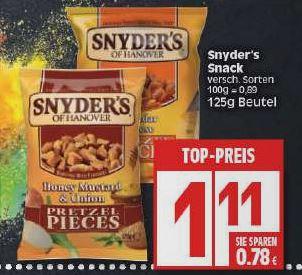 Snyder's Pretzel Pieces für 1,11€ bei Edeka in u.a. Berlin und Hannover (und bundesweit für 1,29€)