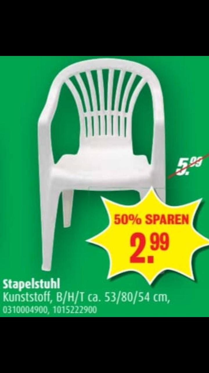 Stapelstuhl für Balkon oder Garten in Weiß für 2.99€ - Roller Geschäfte offline