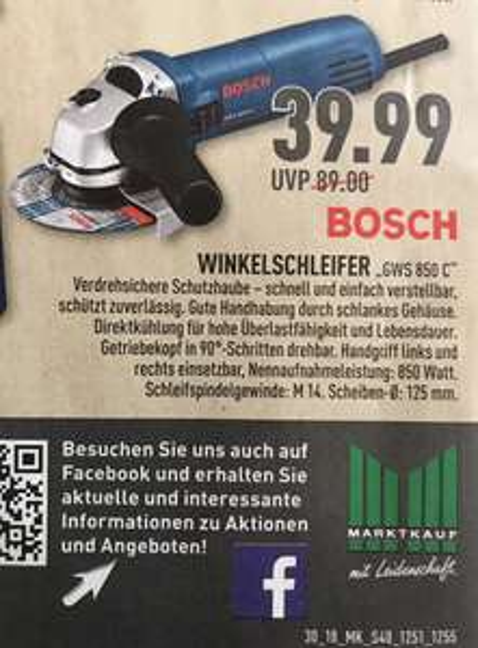 Bosch Winkelschleifer GWS 850 C im Marktkauf für 39,99€ (lokal)
