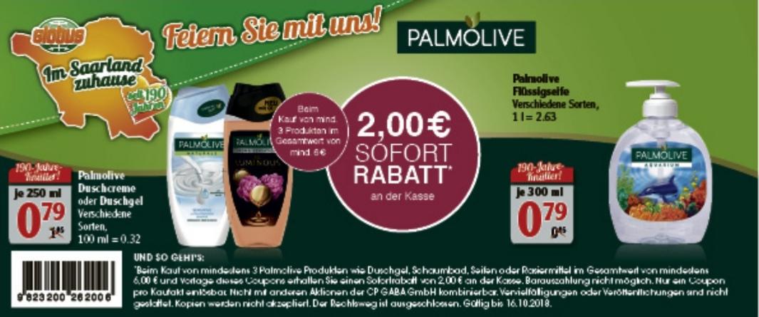 Palmolive Duschgel oder Handseife ( Globus Saarland beim Kauf von 8 St.)