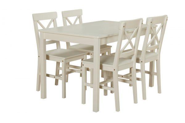 Kiefer Landhaus Essgruppe Tisch 4 Stühle Stuhl Sitzgruppe Küche Esstisch weiß inkl. Versand, Dynamic24 via Dealclub