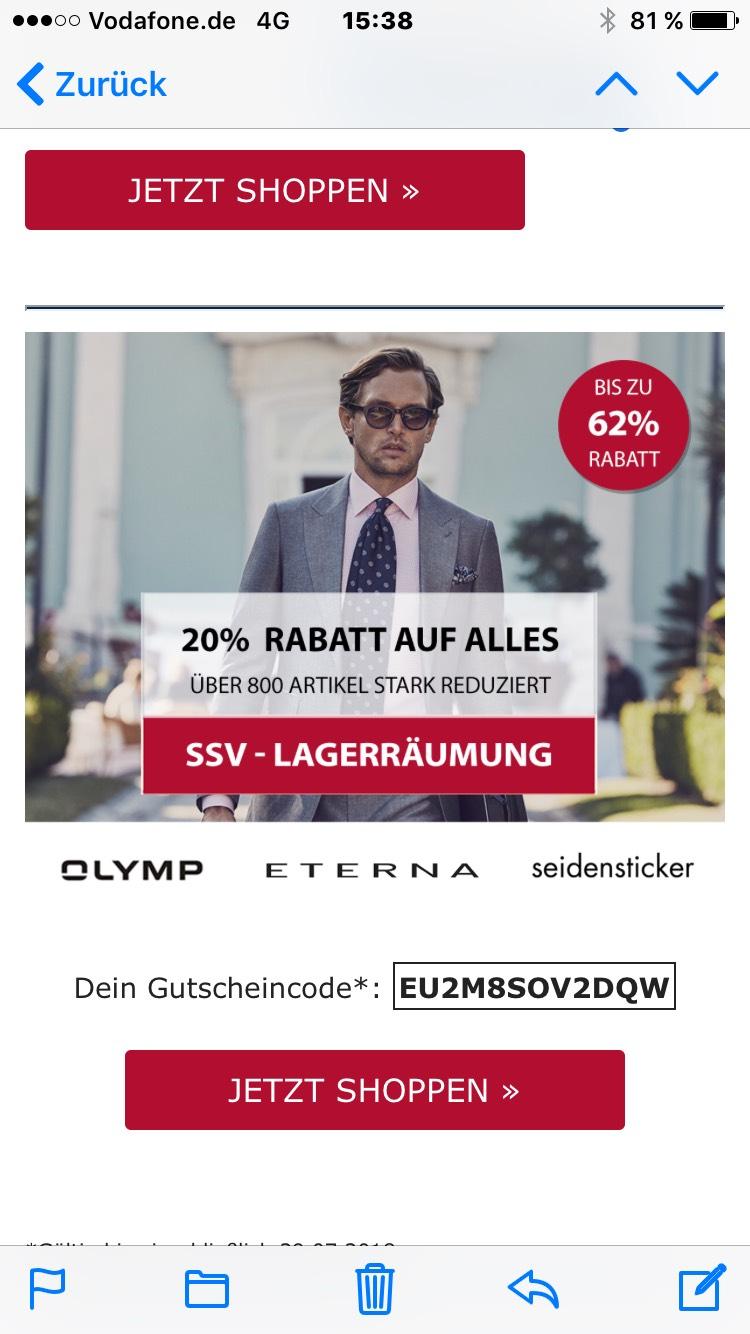 SSV bei Hemden.de - 20% Rabatt auf alles mit OLYMP, ETERNA, Seidensticker
