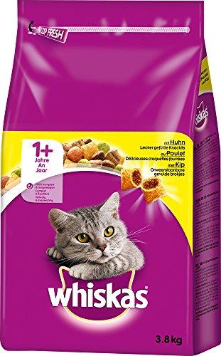 Whiskas Katzen-/Trockenfutter Adult 1+ für Erwachsene Katzen mit Huhn, 3 Beutel (3 x 3,8 kg) exklusiv Prime :(