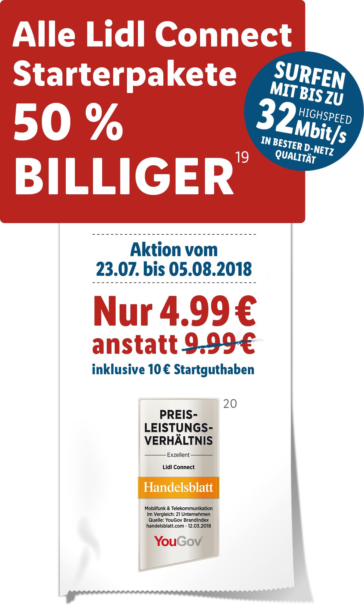 LIDL Connect (Vodafone-Netz) Starterpaket 50% günstiger inkl. 10 Euro Startguthaben - vom 23.07.18 bis 05.08.18!