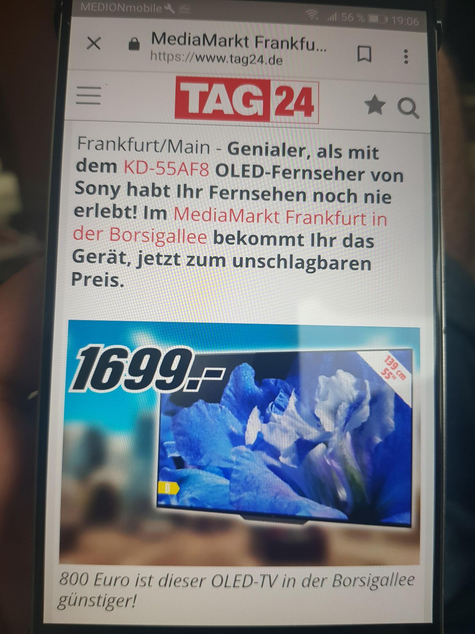 [Lokal - Media Markt Frankfurt, Borsigallee] Sony KD55af8