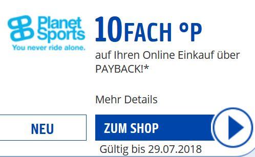 [Planet Sports] 10fach Payback Punkte bei Planet Sports - wenn man mal für mehr als 0€ kauft