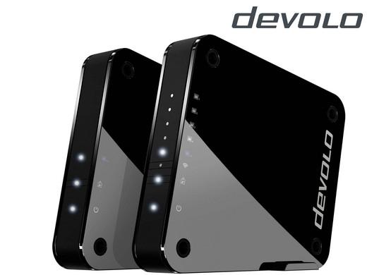devolo GigaGate WLAN Starter Kit (2 Gbit/s Verbindung, 1x Highspeed Gigabit Port, 4x Fast Ethernet Ports, Punkt-zu-Punkt-Verbindung per 5GHz-Band, Highend-Multimedia-Erlebnis, AES Verschlüsselung) schwarz für 105,90€ @ iBood