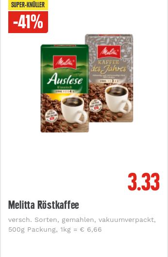 EDEKA Rhein-Ruhr & Nord, Melitta Röstkaffee versch. Sorten 500g Packung