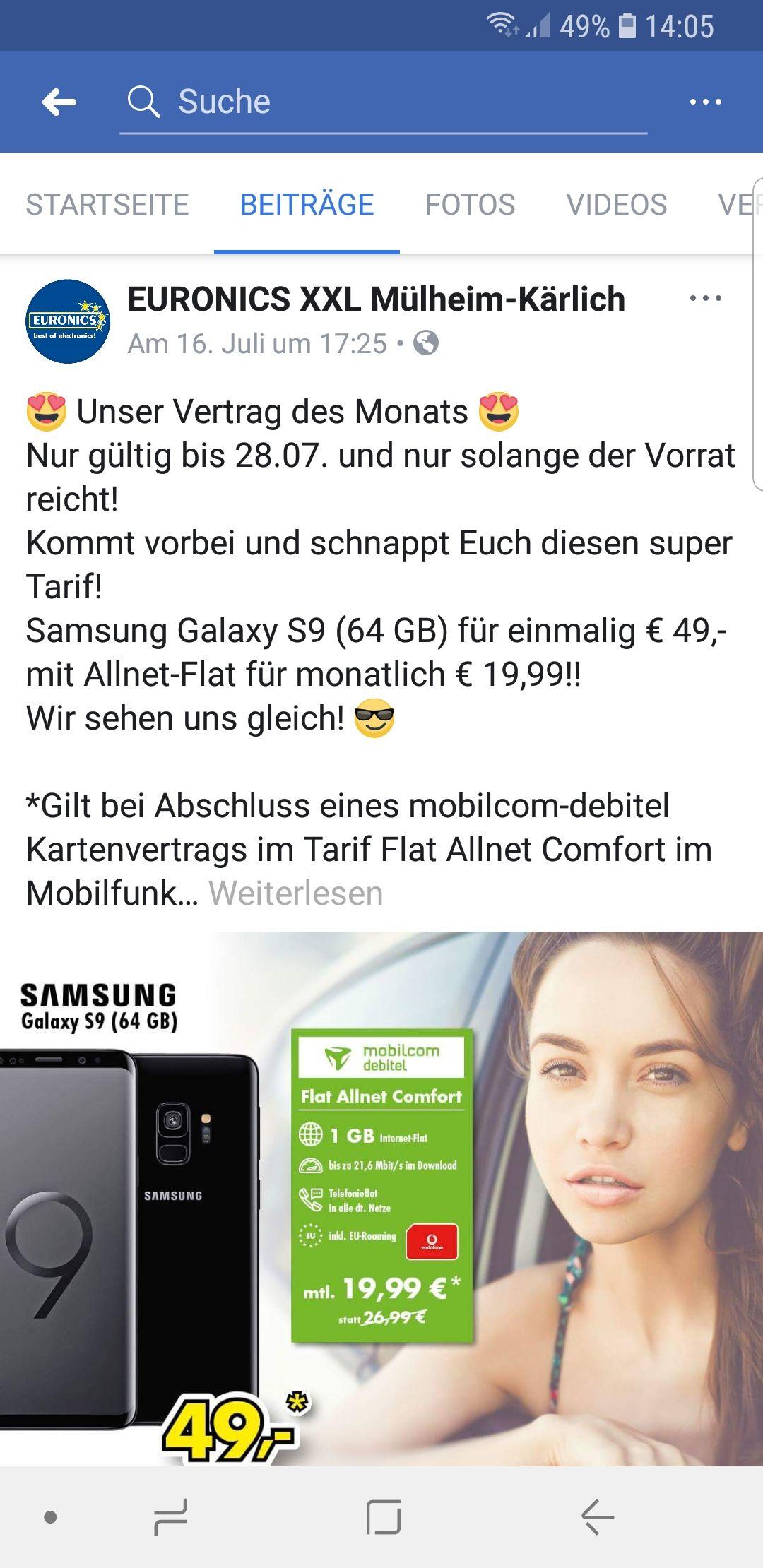S9 (Dual Sim) im MD Vertrag für  19,99€(568,75€) {wahrscheinlich nur Lokal Mülheim-Kärlich}