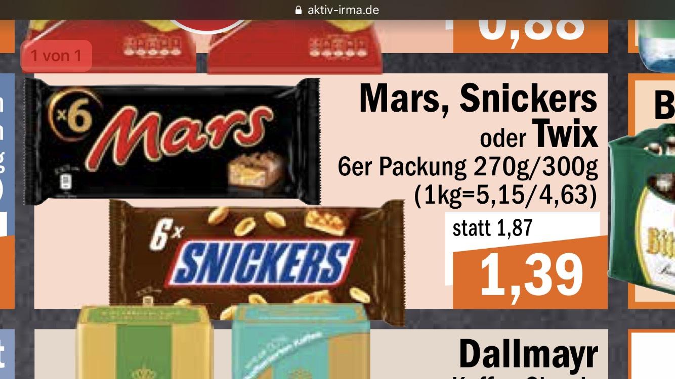 Mars, Twix und Snickers für 1,39€, lokal Oldenburg