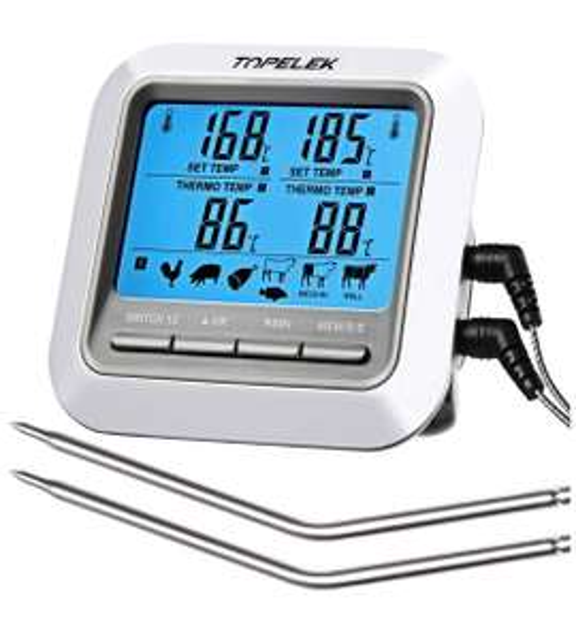 [Amazon] Topelek Grillthermometer mit 2 Sonden mit Gutschein für 9,99€ statt 15,99€ (+ Versand falls kein Prime)