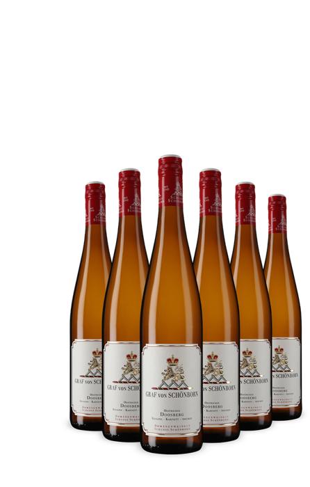 6 Flaschen trockener Kabinett Lagen-Riesling Oestricher Doosberg von Graf von Schönborn 2017 [Vicampo Neukunden]