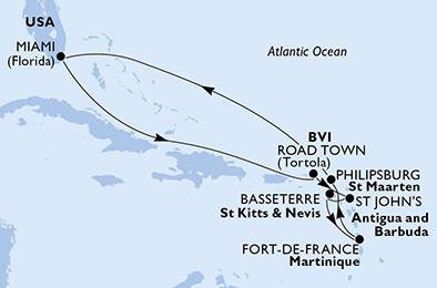 Familienkreuzfahrt durch die Karibik (2 Erw.+2 Kinder)