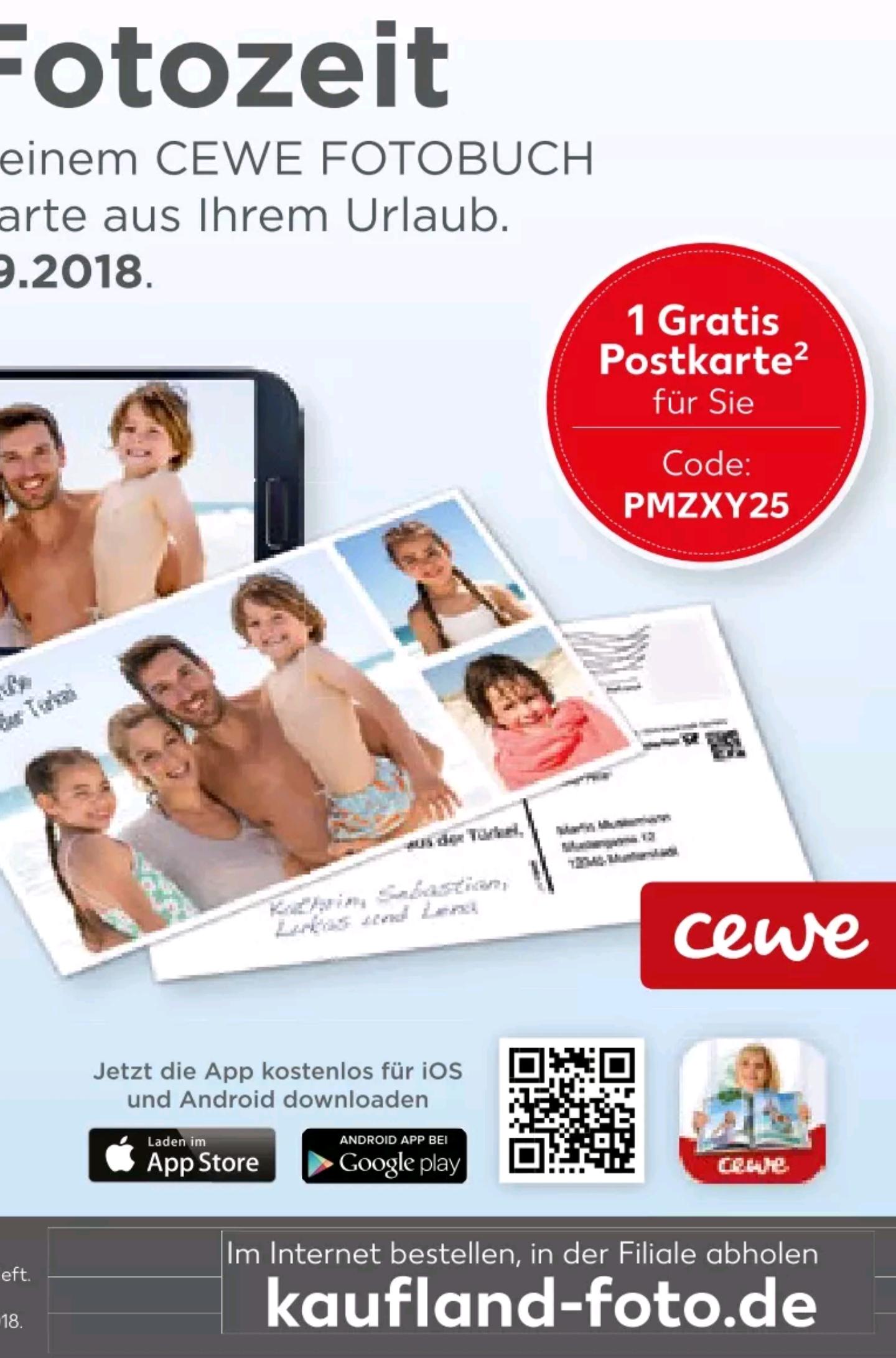 Eine kostenlose Postkarte (auch XL) über Kaufland / Cewe versenden