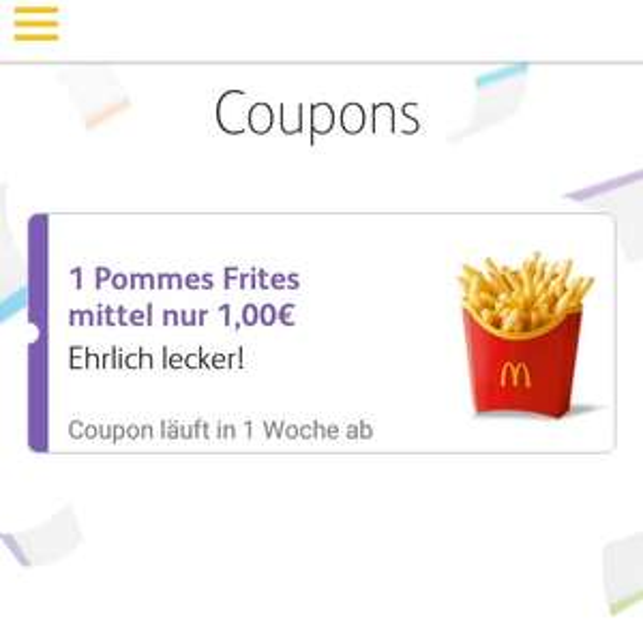1€ Mittlere Pommes bei McDonald's