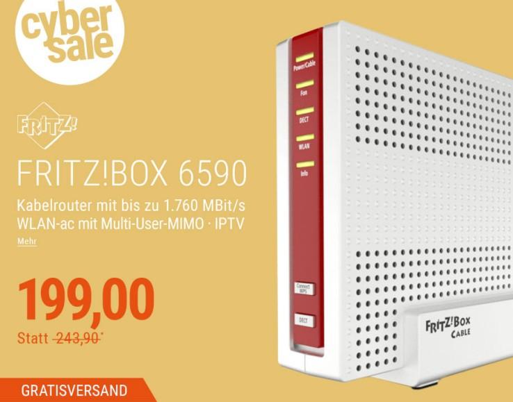 [cyberport] AVM Fritz!Box 6590 Cable WLAN AC + N Router (DOCSIS-3.0-Kabelmodem, Dual-WLAN AC+N mit 1.733 Mbit/s (5 GHz) + 800 Mbit/s (2,4 GHz), VoIP-Telefonanlage)