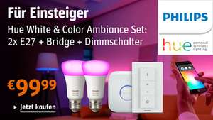 Philips Hue White and Color Ambiance 2x E27 mit Bridge + Dimmschalter