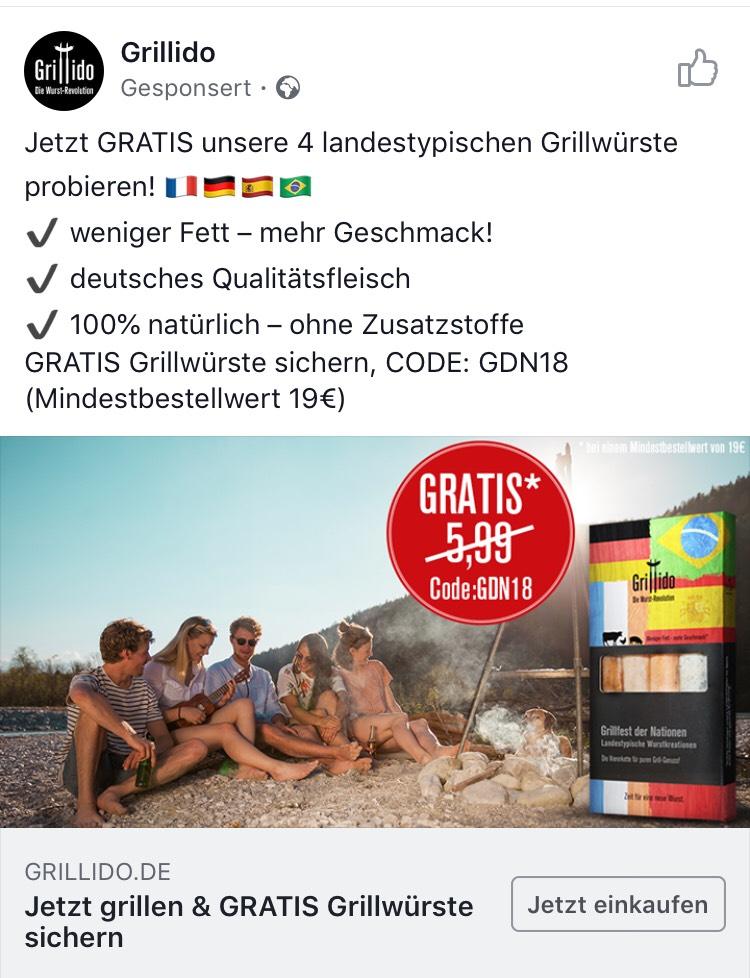Gratis 4 Grillwürste erhalten (MBW 19€)