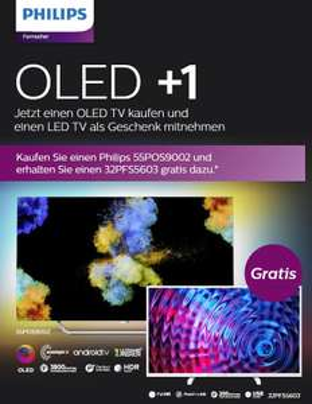 "Philips TV OLED+1 Aktion, 55"" OLED 55POS9002 + 32"" Full HD 32PFS5603 GRATIS, OLED 65OLED873 + 43"" Full HD 43PFS5503"