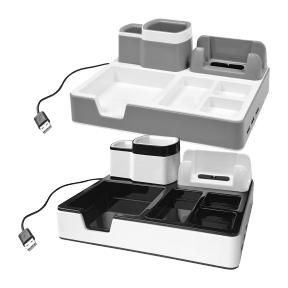 Desk Organizer Schreibtisch Ordnungssystem Mit 3 USB Anschlüssen Und Ladefunktion