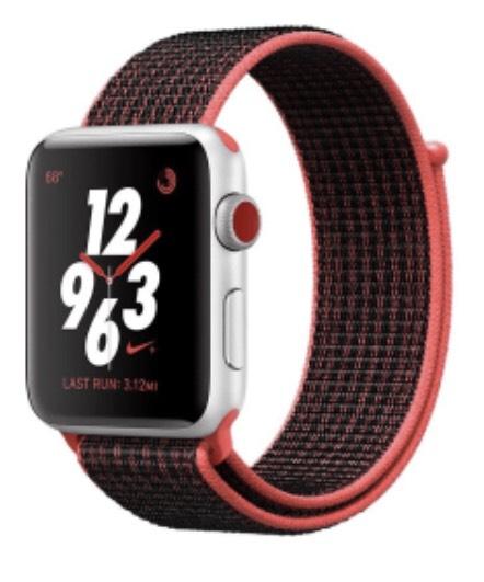 Apple Watch Nike+ LTE 42mm Aluminiumgehäuse Silber Sport Loop Crimson Schwarz