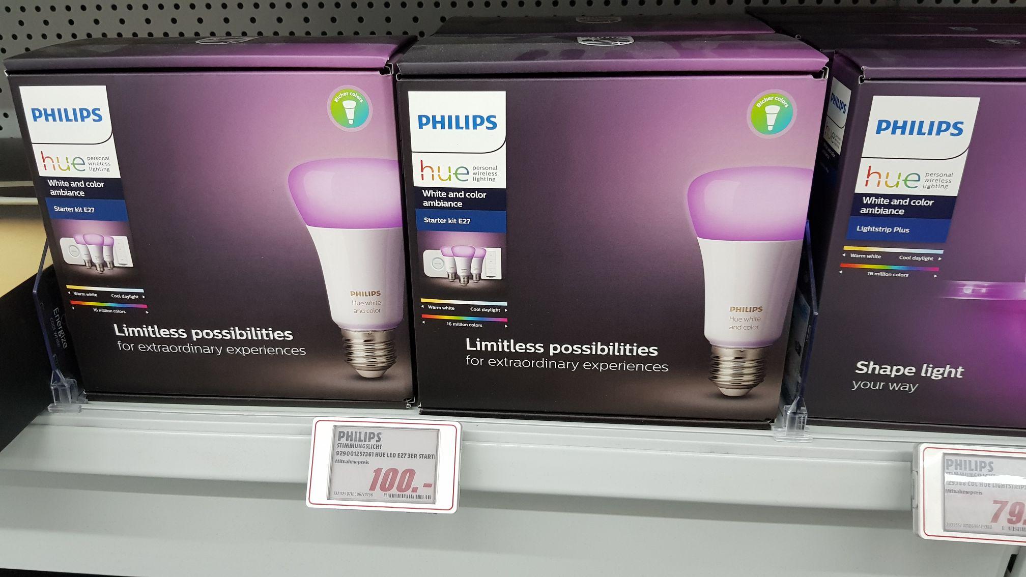 [Lokal Mediamarkt Hildesheim] Diverse Philips Hue Angebote z.B. Starter Set E27 für 100€