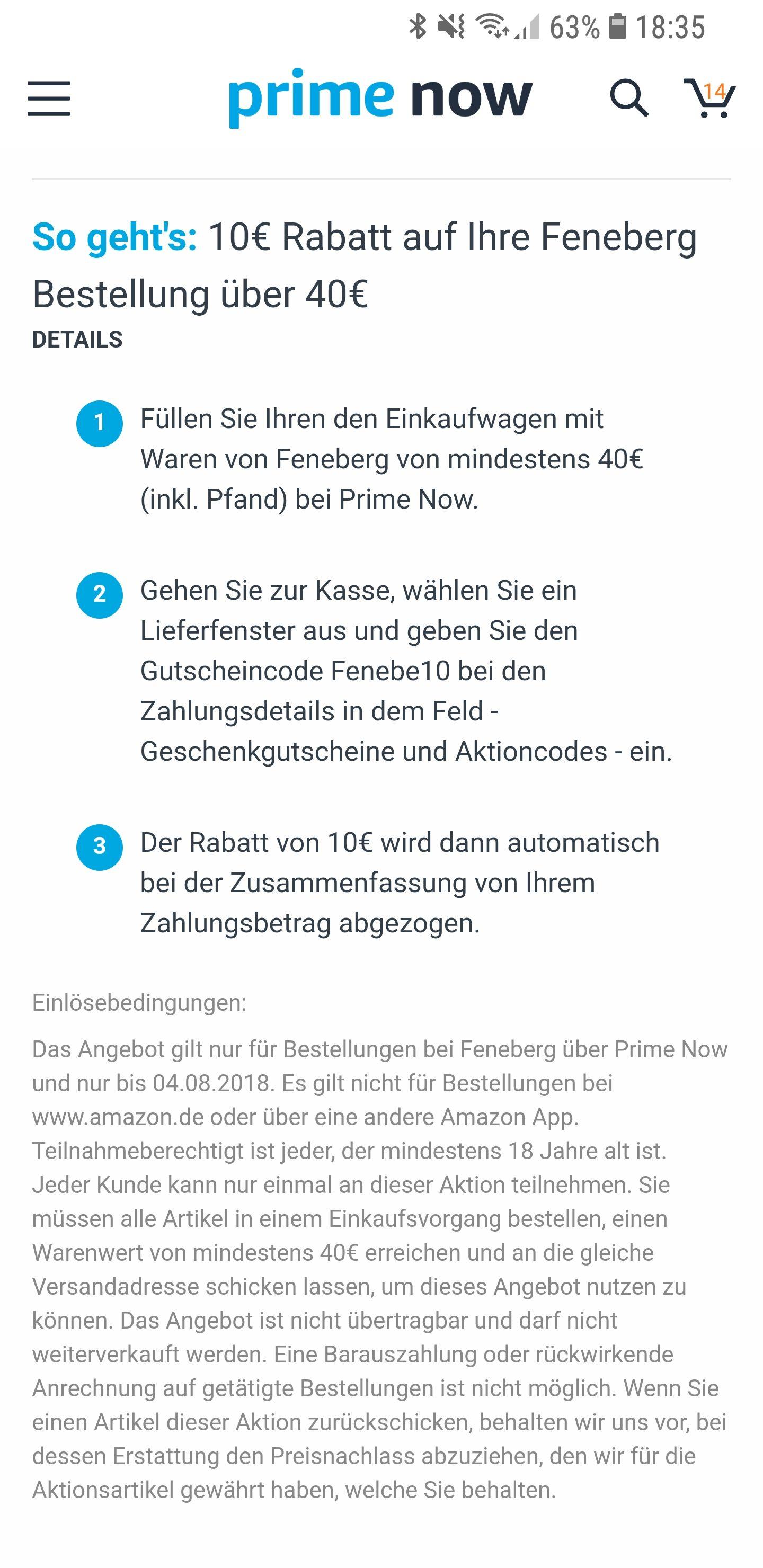 Amazon Prime Now [Muc/Berlin]: Feneberg 10€ Rabatt bei 40€ MBW