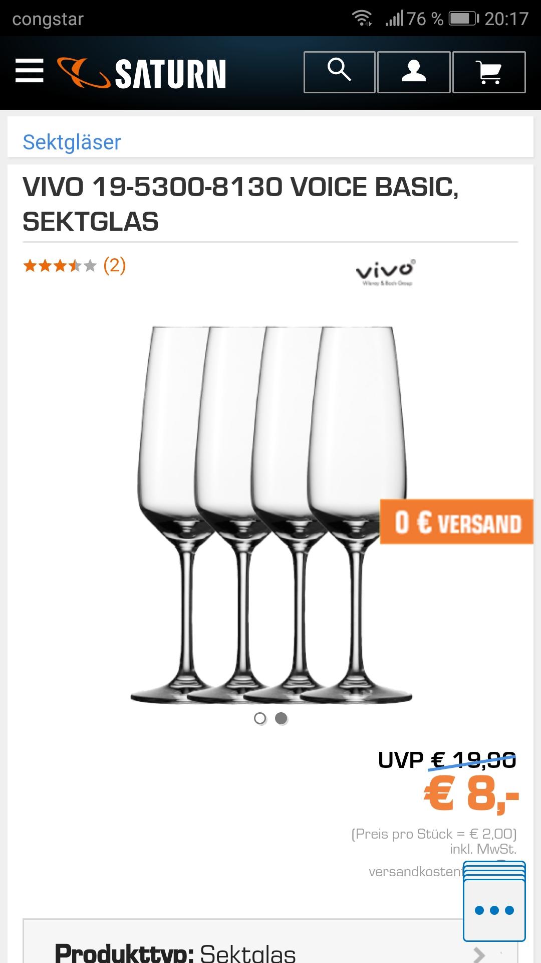 VIVO Sekt Gläser 4 Stück